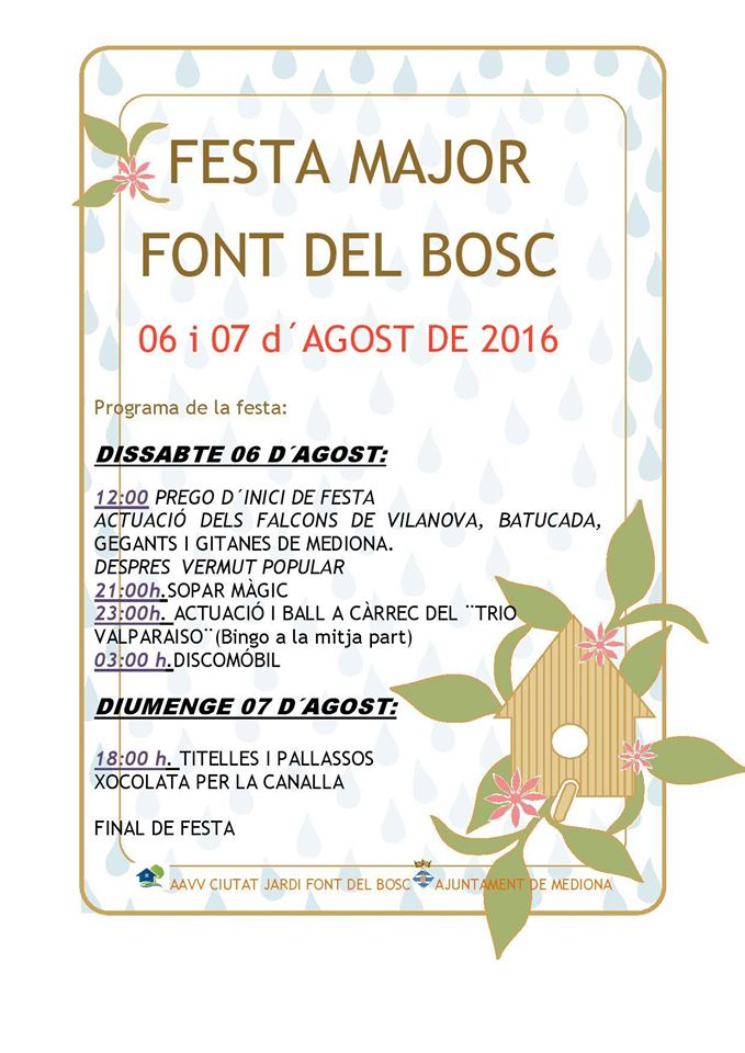 FESTA MAJOR DE FONT DEL BOSC